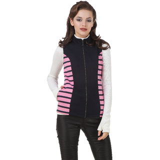Texco Mock Neck Cut Sleeve Black & White Striped Panel Winter Jacket