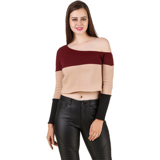 01a87fa697560 Buy Texco Winter One Off Shoulder Color Block Party Crop Top Online ...