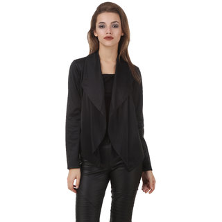 Texco Black Front Open Waterfall Biker Look Jacket