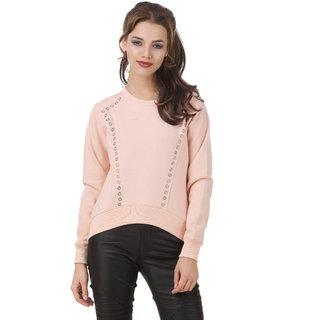 Texco Peach High Low Studs Detailing Winter Sweatshirt