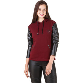 Texco Black Leather Long Sleeve Maroon Party Sweatshirt
