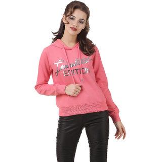 Texco Pink Slogan Crop Winter Sweatshirt