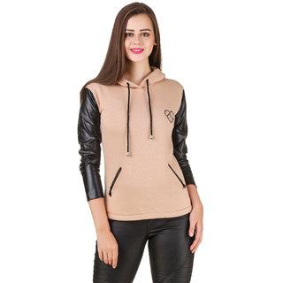 Texco Black Leather Long Sleeve Beige Party Sweatshirt