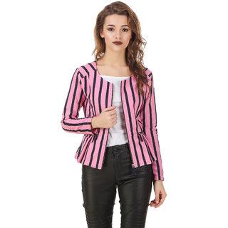 Texco Pink & White Stripe Winter Peplum Jacket