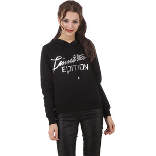 Texco Black Slogan Crop Winter Sweatshirt