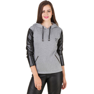 Texco Black Leather Long Sleeve Grey Party Sweatshirt
