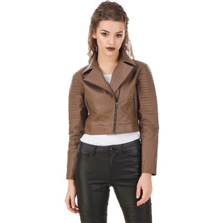Texco Brown Quilted Leather Biker Jacket