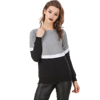 Texco Color Block Grey  White & Black Sweatshirt