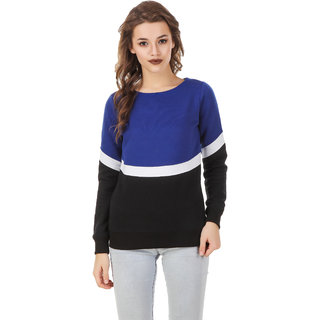 Texco Color Block Blue  White & Black Sweatshirt