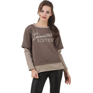 Texco Brown & Beige Typography Printed Winter Sweatshirt