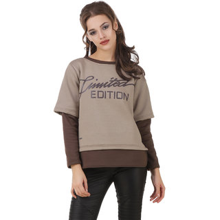 Texco Beige & Brown Typography Printed Winter Sweatshirt
