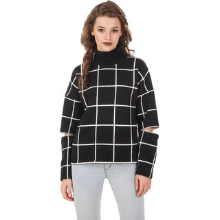 Texco Black Plaid Turtle Neck Full Sleeve With Cut Out Zipperer Detailing Winter Sweat Shirt