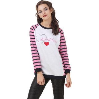 Texco Stupid Love Typography Printed Pink Stripe Winter Sweatshirt