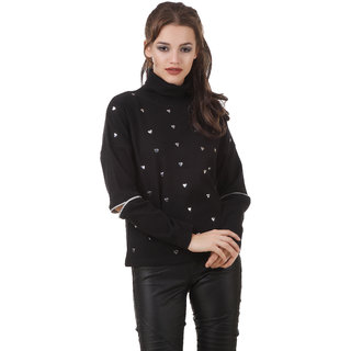 Texco Black Studs Embelished Turtle Neck Full Sleeve With Cut Out Zipperer Detailing Winter Sweat Shirt