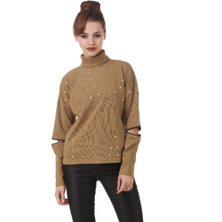 Texco Khaki Studs Embelished Turtle Neck Full Sleeve With Cut Out Zipperer Detailing Winter Sweat Shirt