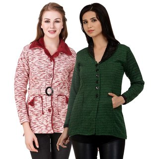 Hardy's Collection Multicolor Solid Woolen Coats for women