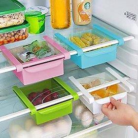 2 Pcs Fridge Storage Rack Slide Fridge Storage Rake Freezer Food Storage Boxes Pantry Storage Organizer Bins Container S