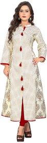 Kurtis for women (Latest Low Price Designer Party Wear White Cotton Kurtis For Women/Girls - VF-KU-86)