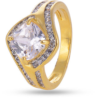 Tistabene Retails Bold Designer American Diamond Stylish Party Wear Solitaire Ring For Women And Girls(RI-0459)
