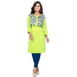 Kurtis for women (Designer Party wear Parrot Green Color With Koti Slub Cotton kurtis for Women/Girls - VF-KU-85)