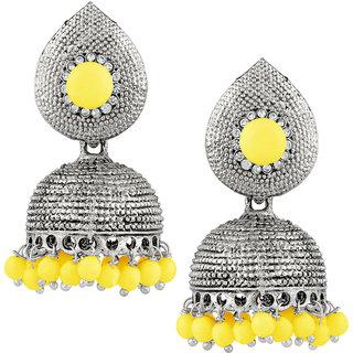 JewelMaze Yellow Beads And Stone Silver Plated Jhumki Earrings