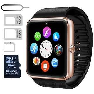 TRASS GT08 Touch Screen Slot Push Message Bluetooth Mate Smart Watch For Android Phone-Gold Black