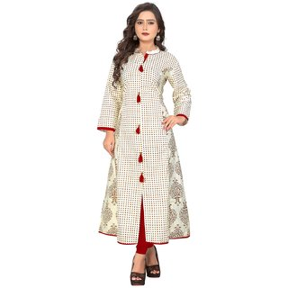 Kurtis for women (Latest Low Price Designer Party Wear White Cotton Kurtis For Women/Girls - VF-KU-86)