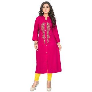 Kurtis for women (Latest Low Price Designer Party Wear Pink Rayon Kurtis For Women/Girls VF-KU-89)