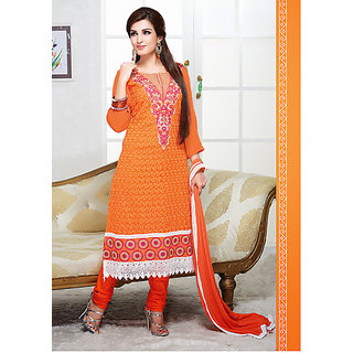 Simply Cotton Embroidered Suit Orange
