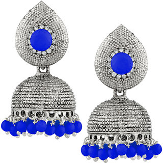 JewelMaze Blue Beads And Stone Silver Plated Jhumki Earrings