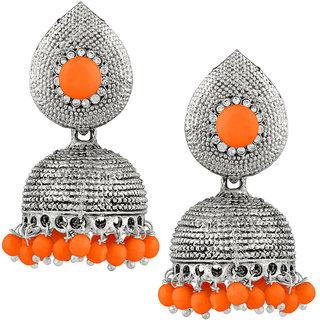 JewelMaze Orange Beads Silver Plated Jhumki Earrings