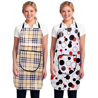 The Intellect Bazaar Set of 2 Waterproof PVC Apron With Front Pocket