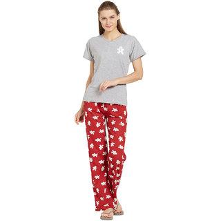 022afc18277156 Buy Velvet by night Grey Solid Hosiery Round Neck Top Pyjama Set For Women  Online - Get 39% Off