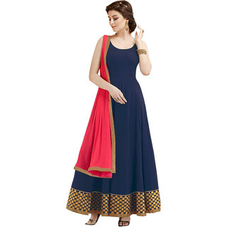 Greenvilla Designs Nevy Blue Georgette Partywear Anarkali Dress