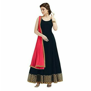Greenvilla Designs Black Georgette Partywear Anarkali Dress