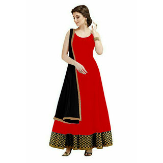 Greenvilla Designs Red Georgette Partywear Anarkali Dress