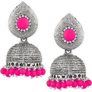 JewelMaze Pink Beads Silver Plated Jhumki Earrings