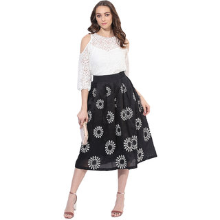 4be54c8344112 Buy Soie Women s Off White Lace Cold Shoulder Top Online - Get 0% Off