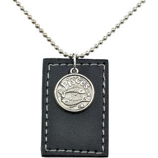 Alphaman PISCES Sunshine Black Leather Tag Ancient Silver Neckpiece