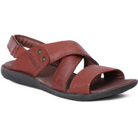 Red Chief Tan Slip On Formal Sandal