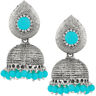JewelMaze Blue Beads Silver Plated Jhumki Earrings