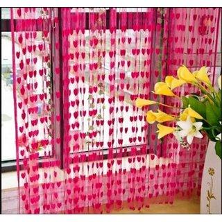 Krishan Enterprises Net Heart Pink Self Design Rod pocket Door Curtain  (215 cm in Height, Pack of 2)