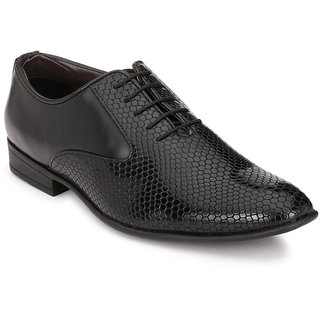 Afrojack Mens Black Lace-up Smart Formals
