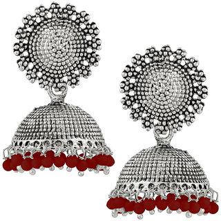JewelMaze Maroon Beads Silver Plated Jhumki Earrings