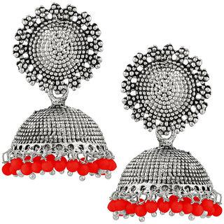 JewelMaze Red Beads Silver Plated Jhumki Earrings