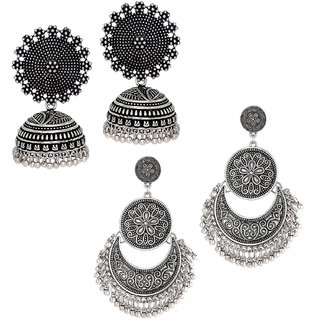 Om Jewells Combo of Stunning Oxidised Chandbali and Jhumki Earrings for Girls and Women CO1000070RHD