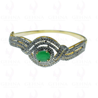 Beautiful Handmade Bangle Studded With Emerald & Cubic Zirconia