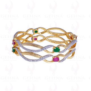 Handmade Pair of Curving Bangles Studded With Emerald & Ruby Stones