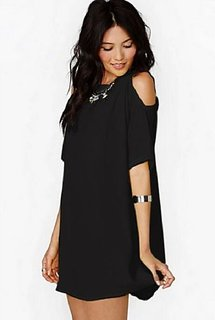 Cold Shoulder Solid Plain Black Fashion Dress by Klick2Style