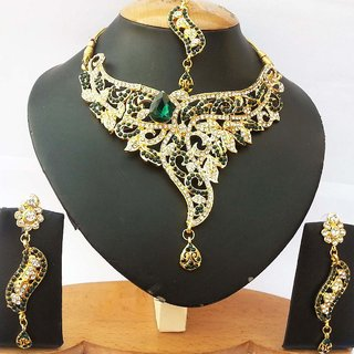Jewelry & Watches Jewelry Sets Glorious Silver Plated Handmade Kundan Zerconic Bollywood Necklace Set Earrings Tikka